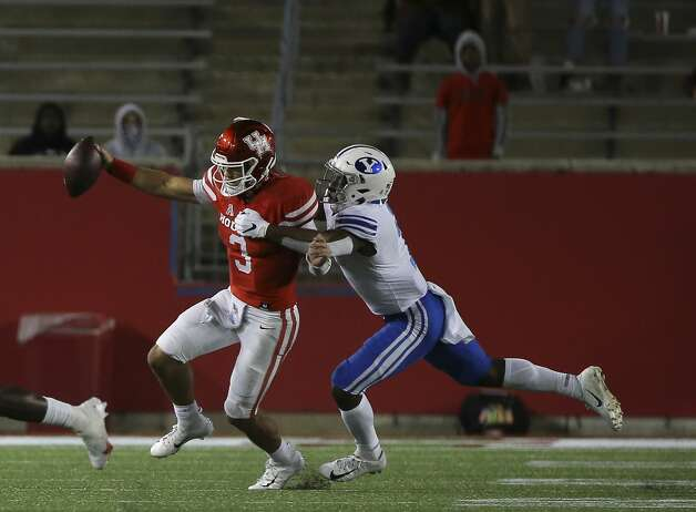 Houston Cougars quarterback Clayton Tune (3) is sacked by Brigham Young Cougars defensive back George Udo (7) during the fourth quarter Saturday, Oct. 17, 2020, at TDECU Stadium in Houston. Photo: Yi-Chin Lee/Staff Photographer / © 2020 Houston Chronicle