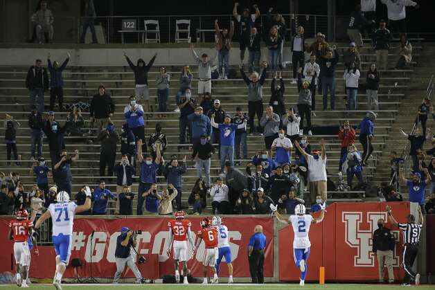 Brigham Young Cougars players and fans celebrate wide receiver Dax Milne's (5) touchdown during the fourth quarter against the Houston Cougars Saturday, Oct. 17, 2020, at TDECU Stadium in Houston. Photo: Yi-Chin Lee/Staff Photographer / © 2020 Houston Chronicle