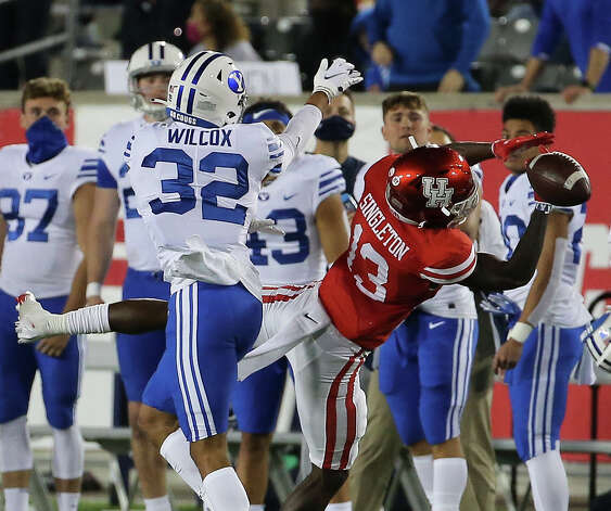 Houston Cougars wide receiver Jeremy Singleton (13) cannot catch an intended pass during the fourth quarter against the Brigham Young Cougars Friday, Oct. 16, 2020, at TDECU Stadium in Houston. Photo: Yi-Chin Lee/Staff Photographer / © 2020 Houston Chronicle