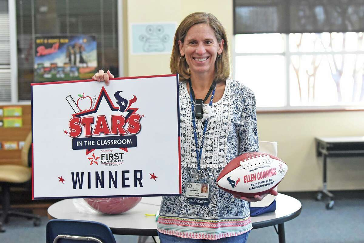 Ellen Cummings, a fifth grade teacher at Swenke Elementary was celebrated as a winner of the First Community Credit Union (FCCU) Texans Stars in the Classroom award Oct. 13, 2020.