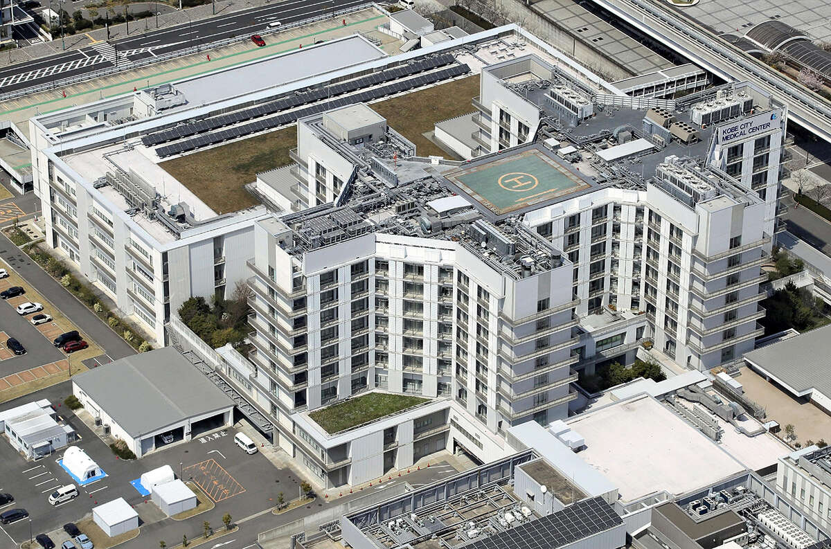 Kobe City Medical Center General Hospital is seen in this aerial photo on April 11.