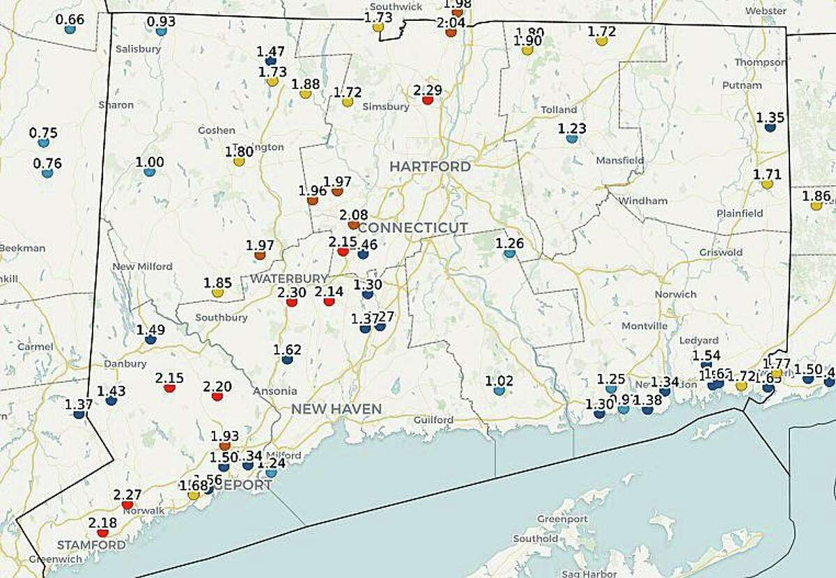 This map from the Community Collaborative Rail, Hail and Snow Network shows heavy rainfall across Connecticut on Friday, Oct. 16, 2020.