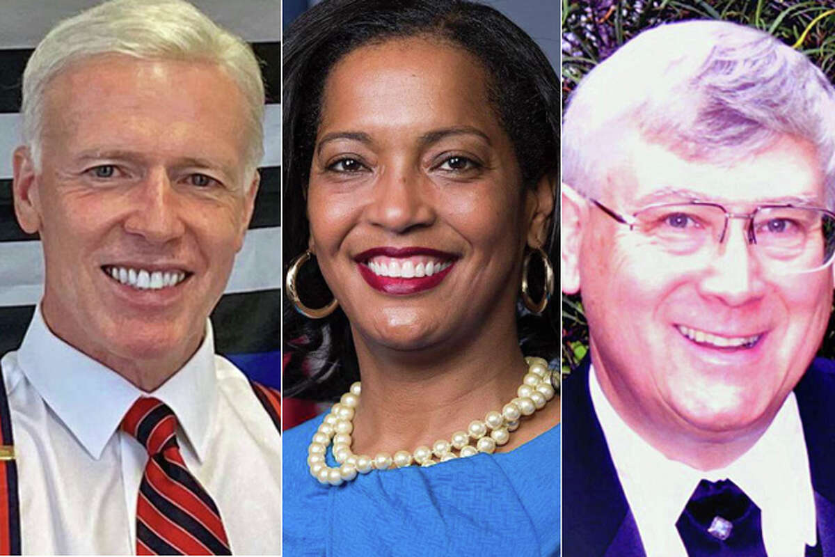 From left, David X. Sullivan, Rep. Jahana Hayes, and Bruce Walczak. CLICK HERE for your complete 2020 voter guide.