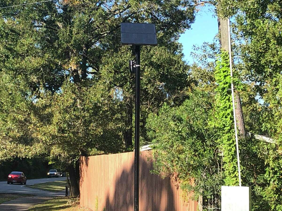 This Flock Safety camera atop a 12-foot pole at the intersection of Briar Forest Drive and Memorial Drive is one of soon-to-be 20 Automated License Plate Readers to help the Memorial Villages Police Department look for stolen or wanted vehicles coming through Bunker Hill, Piney Point or Hunters Creek Villages.