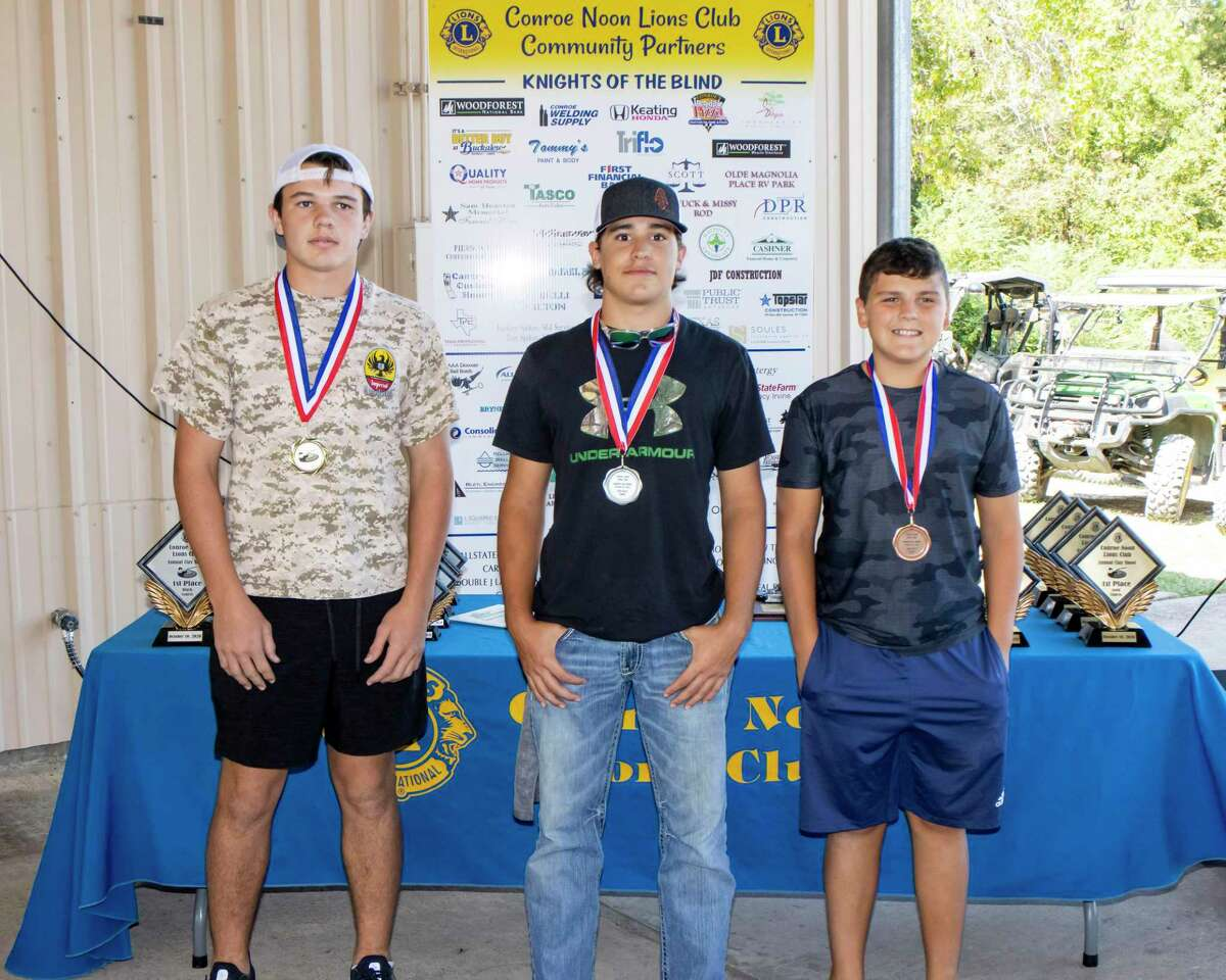 Fun for All - There was a youth division at the Conroe Noon Lions Club Clay Shoot and the 15 & younger - youth division showed off their competition skills. Winners (l-r) 1st place Hudson Bardwell, 2nd place Colton McMichael, 3rd place Hunter Morton