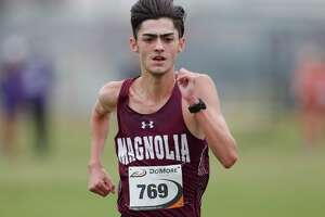 Dylan Sequeira of Magnolia finished first overall in the Run the Dog Pound Invitational cross country meet, Saturday, Oct. 17, 2020, in Magnolia.