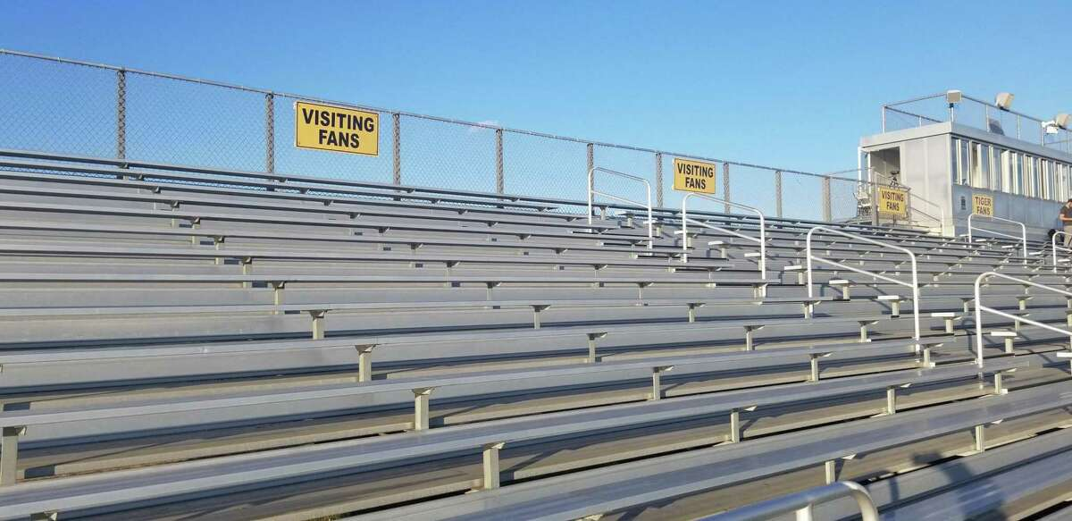The visiting fans section was empty at the Surf Club in Madison on Oct. 2 before the Hand-Guilford boys soccer game.