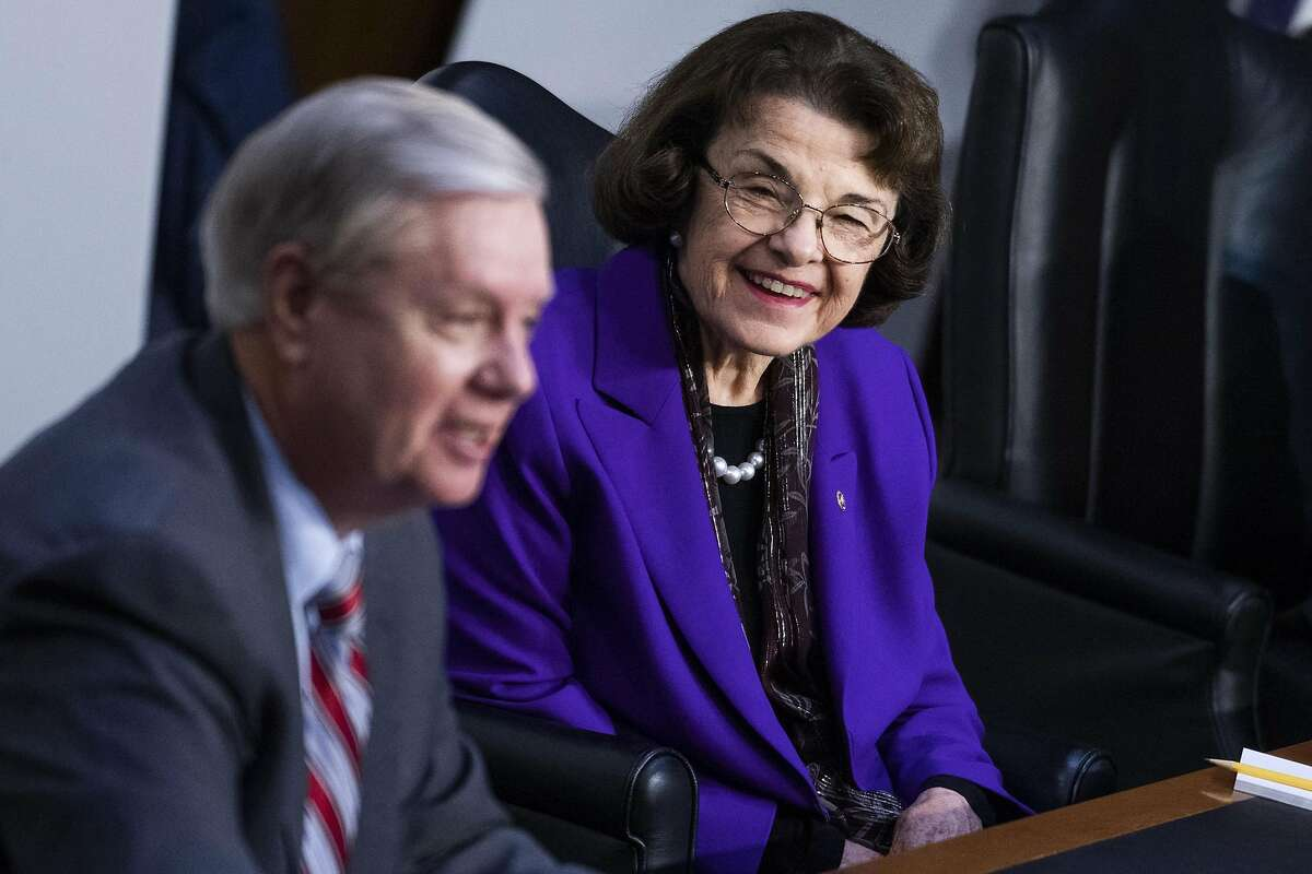 Chairman Lindsey Graham, R-S.C., and ranking member Sen. Dianne Feinstein, D-Calif., attend the Senate Judiciary Committee meeting on the Supreme Court nominee.