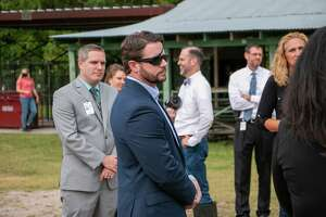 U.S. Congressman Dan Crenshaw toured the Humble ISD northern agricultural barn on Friday, Oct. 16.