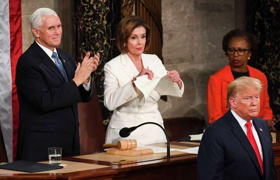 House Speaker Nancy Pelosi, D-Calif., rips up her advanced copy of President Trump's State of the Union address on Feb. 4. Photo: Washington Post Photo By Toni L. Sandys. / The Washington Post