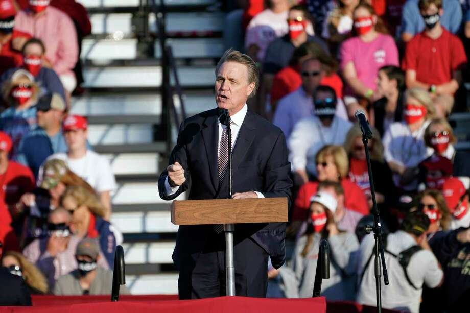 Sen. David Perdue, R-Ga., speaks during a campaign rally for President Donald Trump at Middle Georgia Regional Airport, Friday, Oct. 16, 2020, in Macon, Ga. Photo: John Bazemore, AP / Copyright 2020 The Associated Press. All rights reserved