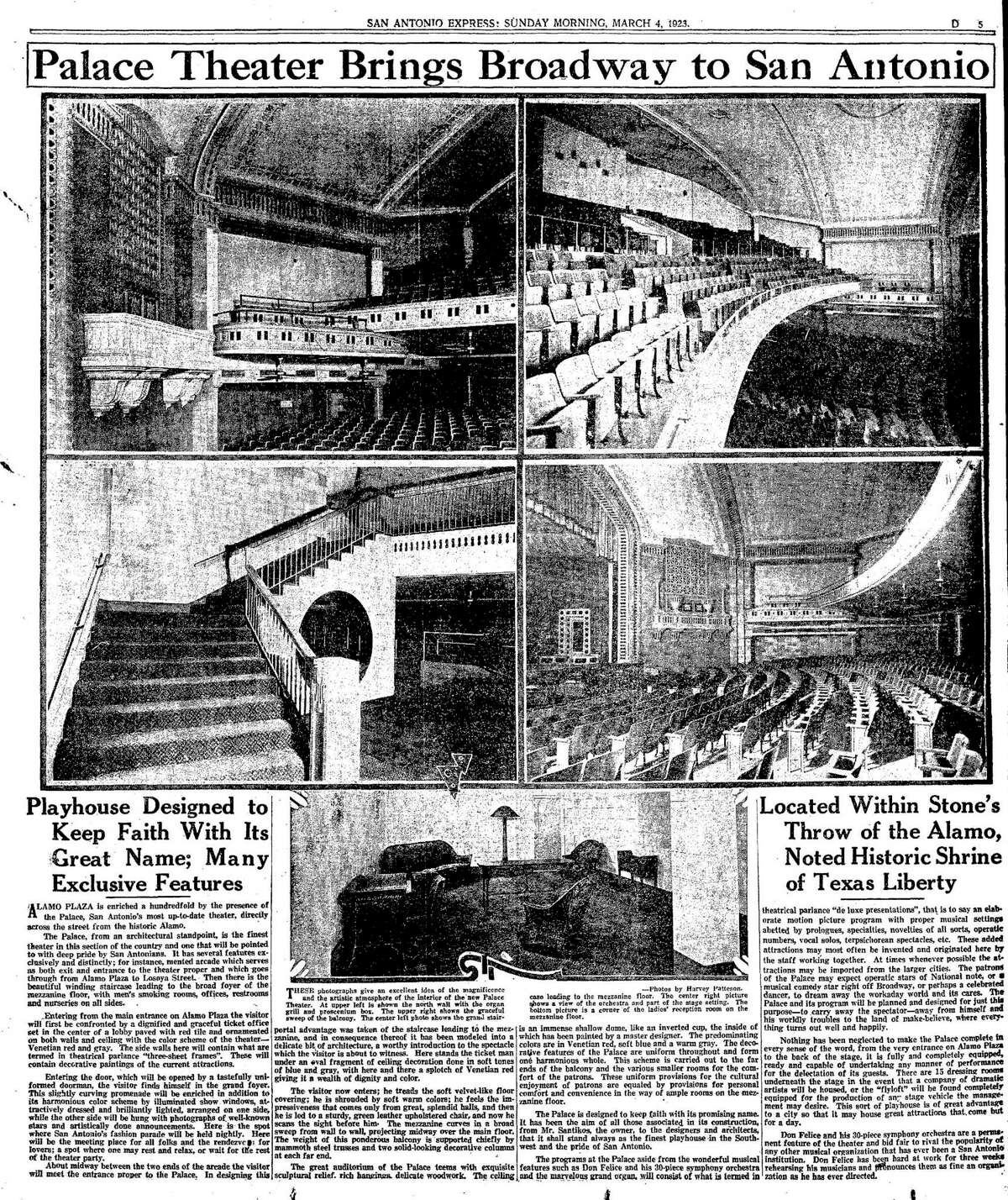 This special section of the San Antonio Express featured the opening of the Palace in 1923. The theater opened across the street from the Alamo and also had an entrance on Losoya Street.