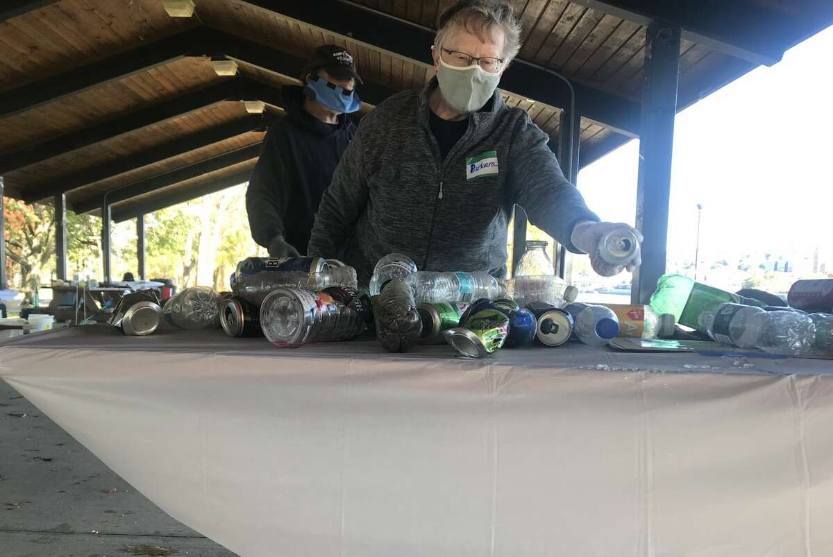 Barbara Leonard was in charge of coordinating the clean up at Hudson Shores Park on Saturday, Oct. 17, 2020.