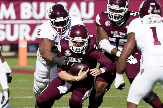 Mississippi State quarterback K.J. Costello (3) is sacked by a Texas A&M defender during the first half of an NCAA college football game in Starkville, Miss., Saturday, Oct. 17, 2020. (AP Photo/Rogelio V. Solis) Photo: Rogelio V. Solis, Associated Press / Copyright 2020. The Associated Press. All rights reserved