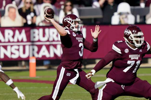 Mississippi State quarterback K.J. Costello (3) passes against Texas A&M during the first half of an NCAA college football game in Starkville, Miss., Saturday, Oct. 17, 2020. (AP Photo/Rogelio V. Solis) Photo: Rogelio V. Solis, Associated Press / Copyright 2020. The Associated Press. All rights reserved