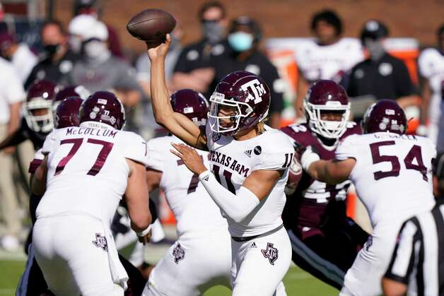 Texas A&M quarterback Kellen Mond (11) passes against Mississippi State during the first half of an NCAA college football game against Mississippi State in Starkville, Miss., Saturday, Oct. 17, 2020. (AP Photo/Rogelio V. Solis) Photo: Rogelio V. Solis, Associated Press / Copyright 2020. The Associated Press. All rights reserved