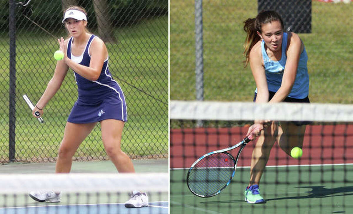 Jersey senior Michelle Maag (left) and junior Lily Ingram completed their run to a sectional championship in doubles play Saturday at the Notre Dame Class 1A Sectional in Quincy. The Panthers doubles team, which also qualified for the state tourney last season, first-round and quarterfinal matches 6-1, 6-0 and 6-2, 6-2 on Friday before coming back Saturday with a 6-0, 6-1 semifinal victory. Ingram and Maag, seeded No. 2, secured their sectional title with a 6-2, 6-4 victory over top-seeded Reagan Martyn and Tess Allen of Rochester, 6-2, 6-4.