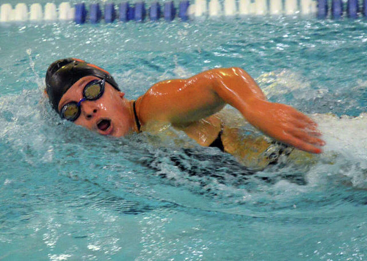 Edwardsville's Jordan Mercer competes in the 500-yard freestyle at the Southern Illinois High School Girls Championships on Saturday at Chuck Fruit Aquatic Center.