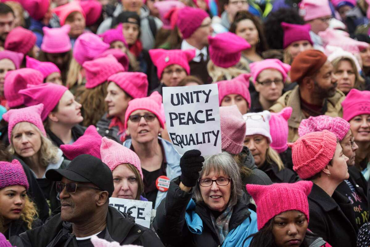 Groups gather for the Women's March on Washington in January 2017.