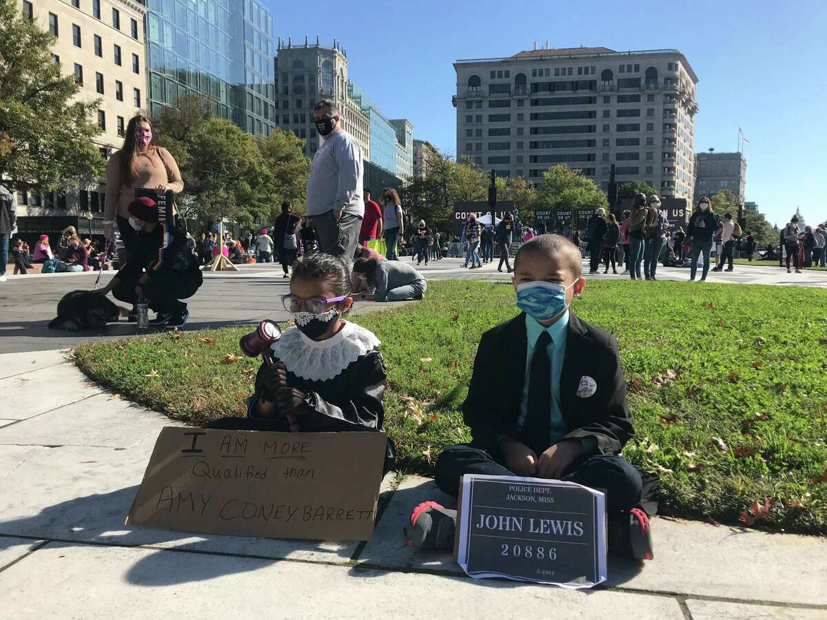 Children joining the Women's March in Washington on Oct. 17, 2020.