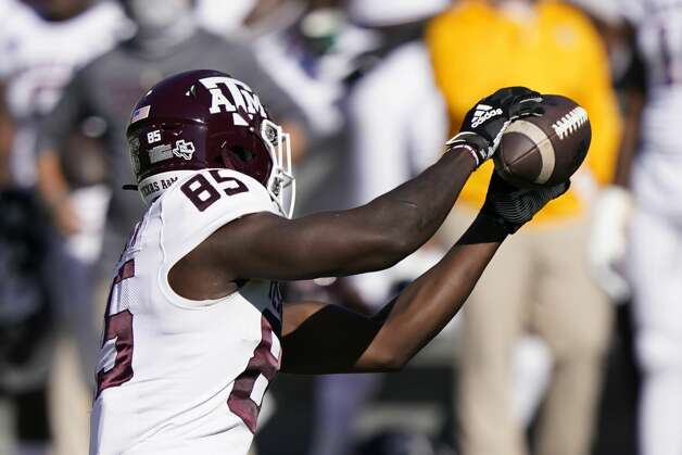 Texas A&M tight end Jalen Wydermyer (85) pulls in a short pass against Mississippi State during the first half of an NCAA college football game in Starkville, Miss., Saturday Oct. 17, 2020. (AP Photo/Rogelio V. Solis) Photo: Rogelio V. Solis/Associated Press / Copyright 2020. The Associated Press. All rights reserved