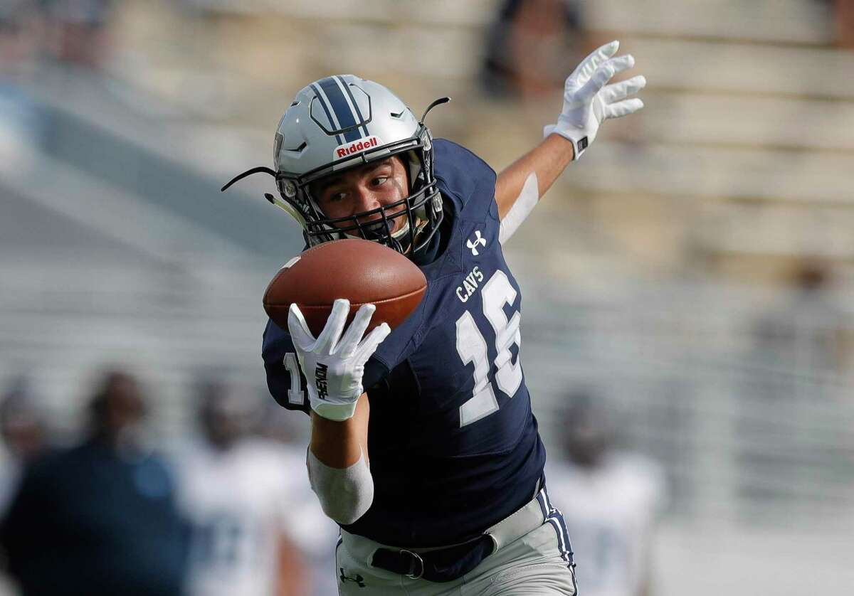 College Park wide receiver Alex Brigman (16) makes a one-handed catch for a 38-yard touchdown during the first quarter of a non-district high school football game at Woodforest Bank Stadium, Saturday, Oct. 17, 2020, in Shenandoah.