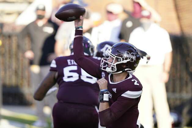 Mississippi State quarterback Will Rogers (2) passes against Texas A&M during the second half of an NCAA college football game in Starkville, Miss., Saturday, Oct. 17, 2020. (AP Photo/Rogelio V. Solis) Photo: Rogelio V. Solis/Associated Press / Copyright 2020. The Associated Press. All rights reserved