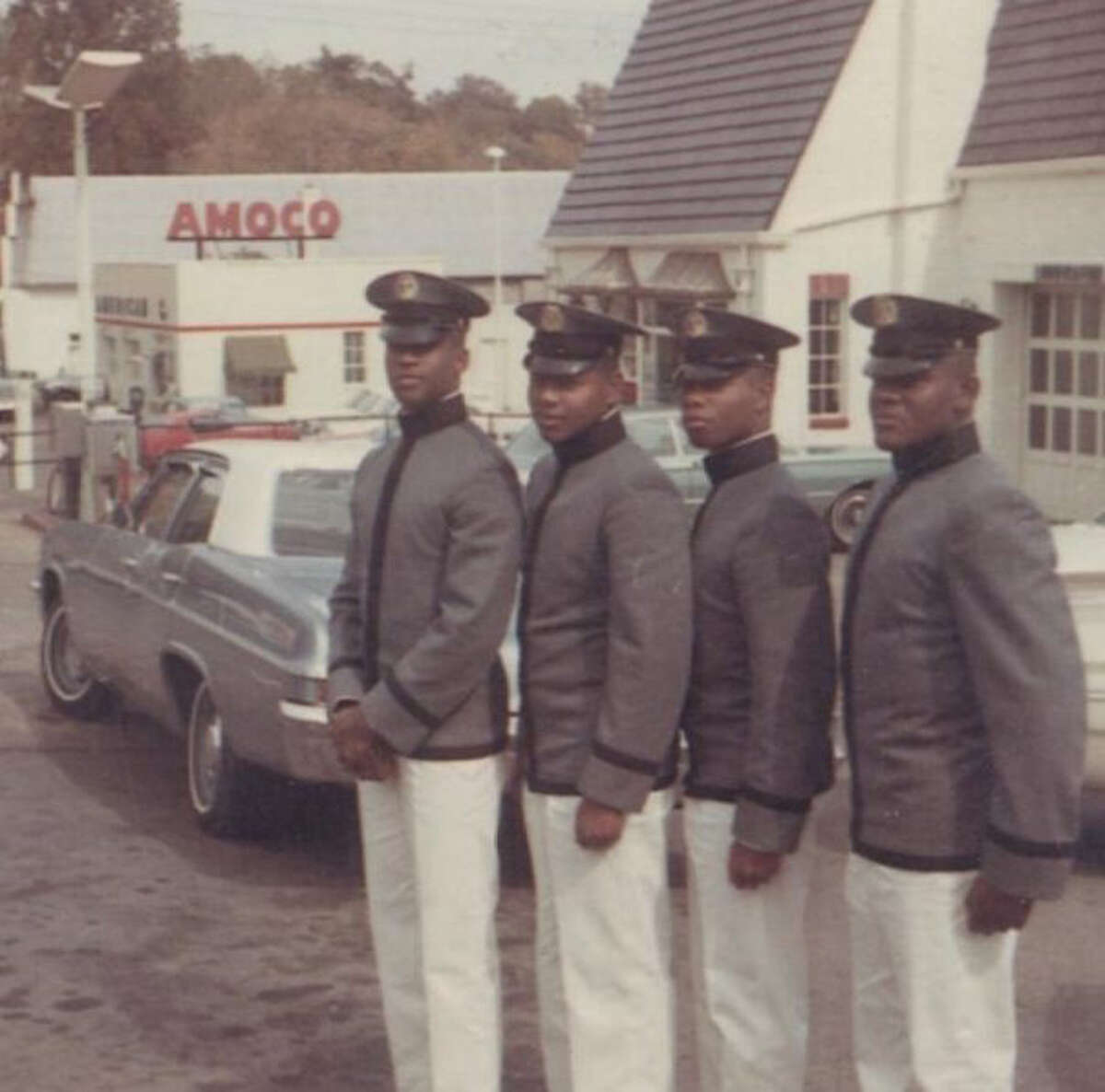Philip Wilkerson, Adam Randolph, Harry Gore and Dick Valentine, four of the first Black students to matriculate at the Virginia Military Institute, are pictured in 1968.
