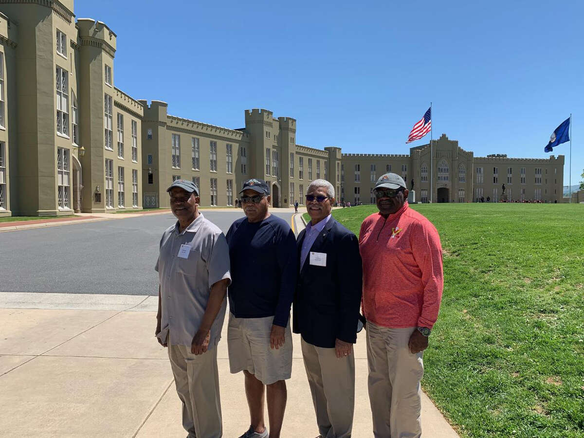 Four of the first Black students to matriculate at the Virginia Military Institute: Philip Wilkerson, Adam Randolph, Harry Gore and Dick Valentine are pictured on campus in 2019 for a belated celebration of the 50th anniversary of the school's integration.