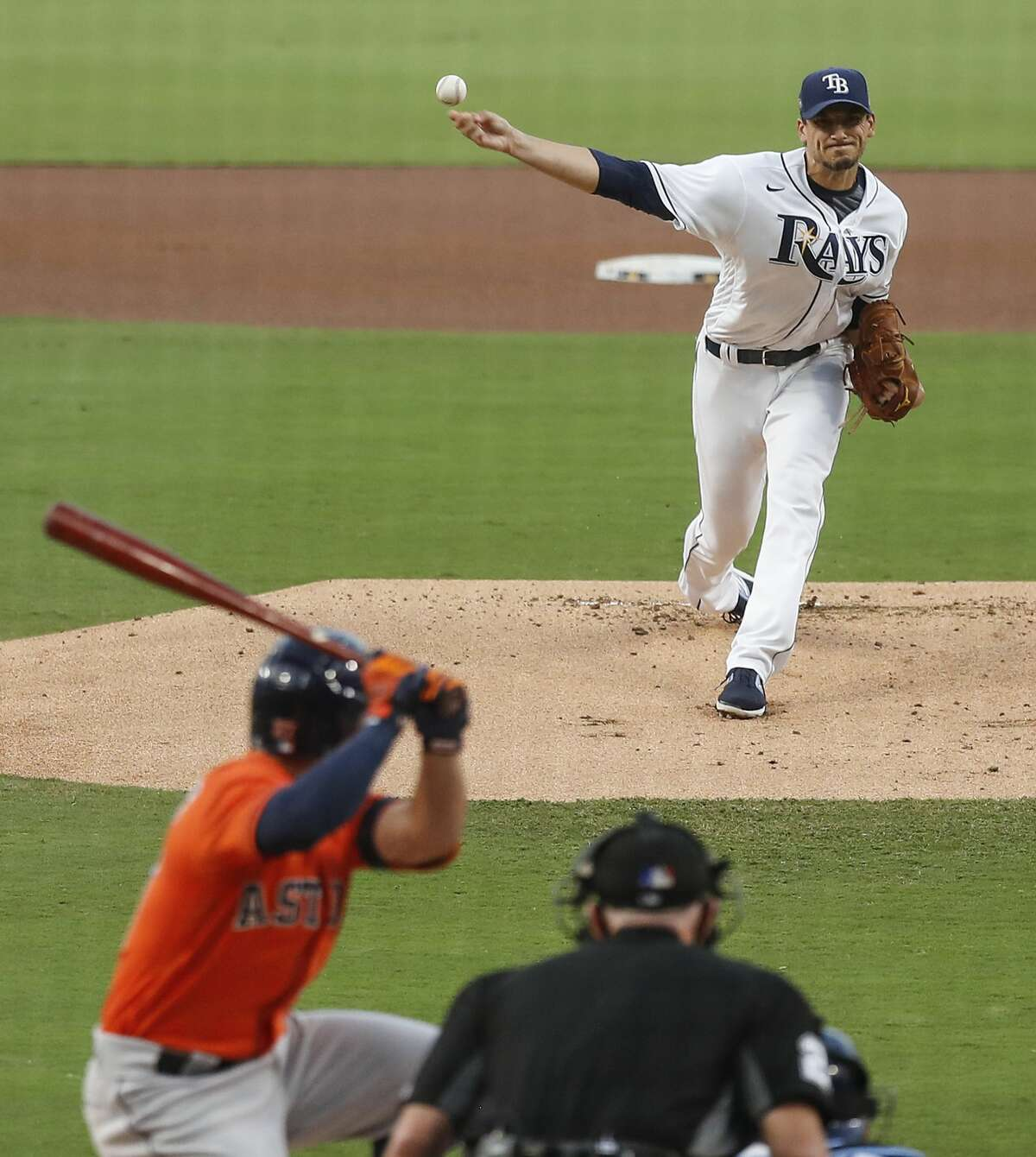 Tampa Bay Rays Charlie Morton pitches to Houston Astros Jose Altuve during the first inning of Game 7 of the American League Championship Series at Petco Park Saturday, Oct. 17, 2020, in San Diego.
