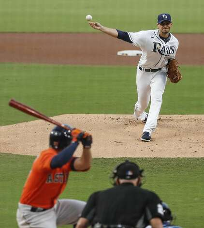Tampa Bay Rays Charlie Morton pitches to Houston Astros Jose Altuve during the first inning of Game 7 of the American League Championship Series at Petco Park Saturday, Oct. 17, 2020, in San Diego. Photo: Karen Warren/Staff Photographer / © 2020 Houston Chronicle