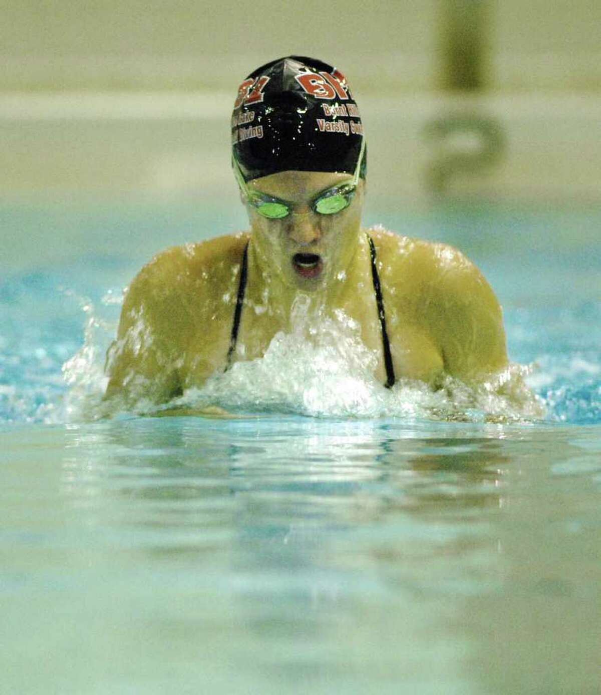 High school fall sports - Senior Kelly Ludeke performs the breaststroke during girls swim team practice at Burnt Hills-Ballston Lake High School in Burnt Hills on Wednesday, Aug. 25. The team has won four straight Class B sectional titles. (Paul Buckowski / Times Union)