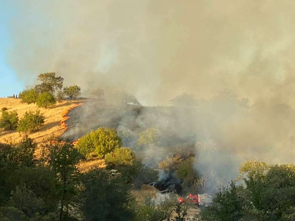 Firefighters were responding to a blaze that prompted evacuations and was threatening homes in Vacaville Saturday afternoon.