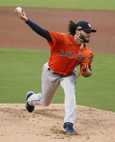 Houston Astros Lance McCullers Jr. pitches against the Tampa Bay Rays during the first inning of Game 7 of the American League Championship Series at Petco Park Saturday, Oct. 17, 2020, in San Diego. Photo: Karen Warren/Staff Photographer / © 2020 Houston Chronicle