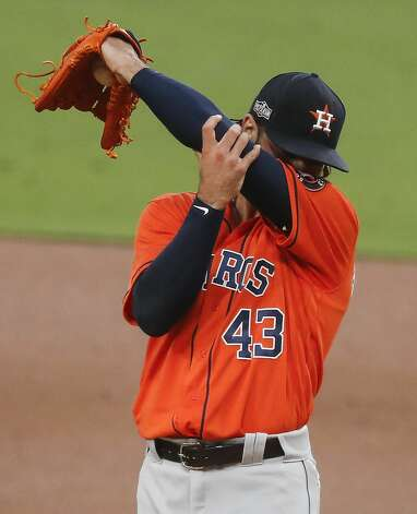 Houston Astros Lance McCullers Jr. (43) wipes his brow after giving up a 2-run home run to Tampa Bay Rays Randy Arozarena during the first inning of Game 7 of the American League Championship Series at Petco Park Saturday, Oct. 17, 2020, in San Diego. Photo: Karen Warren/Staff Photographer / © 2020 Houston Chronicle