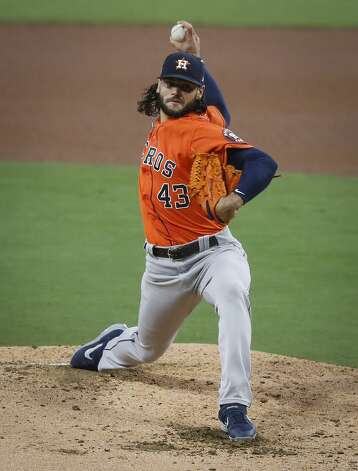 Houston Astros Lance McCullers Jr. pitches against the Tampa Bay Rays during the second inning of Game 7 of the American League Championship Series at Petco Park Saturday, Oct. 17, 2020, in San Diego. Photo: Karen Warren/Staff Photographer / © 2020 Houston Chronicle