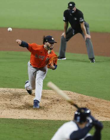 Houston Astros Lance McCullers Jr. (43) pitches against the Tampa Bay Rays during the fourth inning of Game 7 of the American League Championship Series at Petco Park Saturday, Oct. 17, 2020, in San Diego. Photo: Karen Warren/Staff Photographer / © 2020 Houston Chronicle