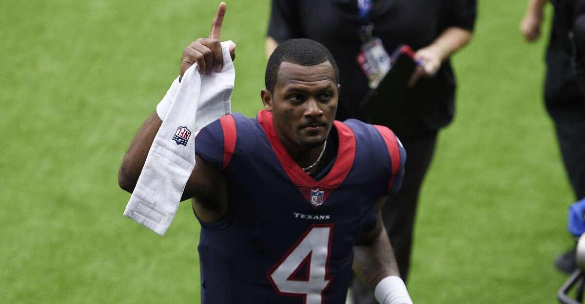 Houston Texans quarterback Deshaun Watson (4) runs off of the field following an NFL football game Sunday, Oct. 11, 2020, in Houston. (AP Photo/Eric Christian Smith)