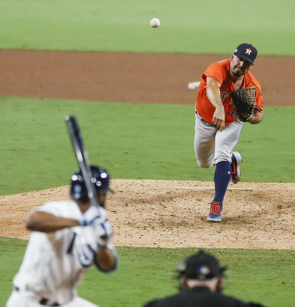Houston Astros reliever Jose Urquidy pitches against the Tampa Bay Rays during the fifth inning of Game 7 of the American League Championship Series at Petco Park Saturday, Oct. 17, 2020, in San Diego.