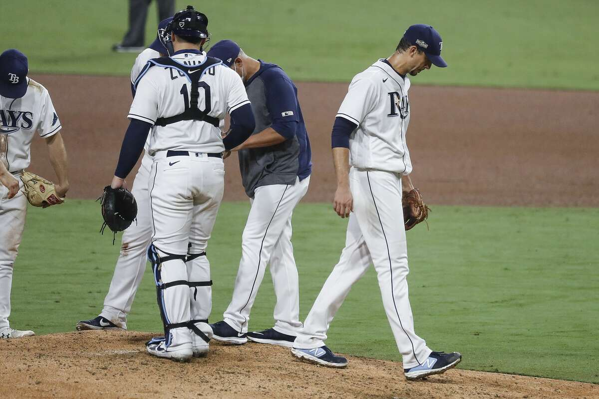 Tampa Bay Rays Charlie Morton walks off the mound after he was lifted from the game after a single by Houston Astros Jose Altuve during the sixth inning of Game 7 of the American League Championship Series at Petco Park Saturday, Oct. 17, 2020, in San Diego.