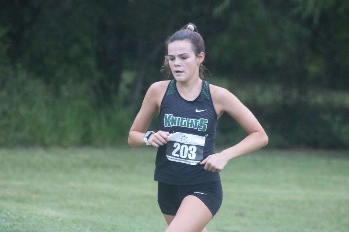 Clear Falls' Anna Loe gets ready to log a 20:47 time at the Deer Park Invitational Friday morning. Of the top 12 times for the 5K distance, six were turned in by the Knights.