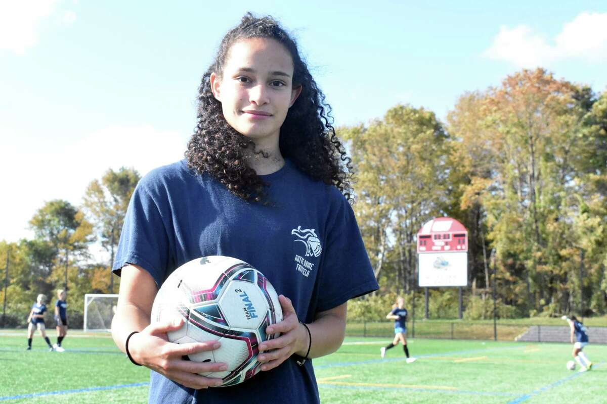 Notre Dame-Fairfield girls soccer player Toni Domingos is on the best goal scorers in the state.