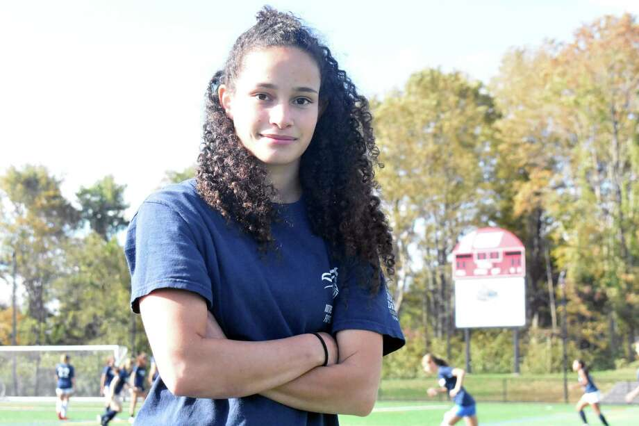 Notre Dame-Fairfield girls soccer player Toni Domingos is on the best goal scorers in the state. Photo: Pete Paguaga, Hearst Connecticut Media