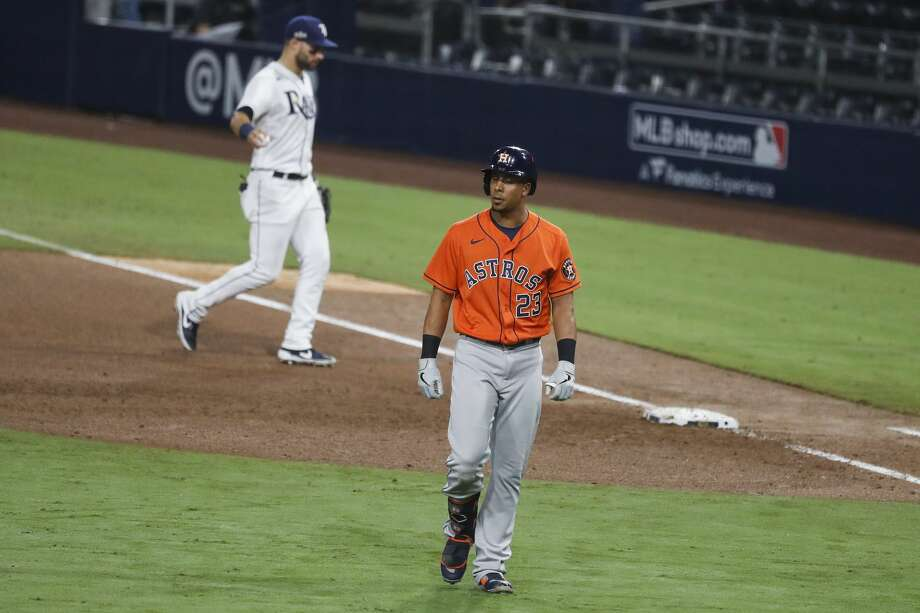 Houston Astros Michael Brantley (23) walks off the field after grounding out to Tampa Bay Rays Brandon Lowe to end the sixth inning of Game 7 of the American League Championship Series at Petco Park Saturday, Oct. 17, 2020, in San Diego. Photo: Karen Warren/Staff Photographer / © 2020 Houston Chronicle
