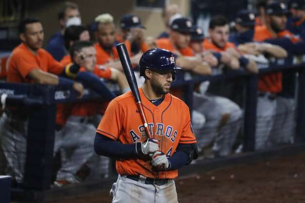 Houston Astros George Springer stands on deck before batting during Game 7 of the American League Championship Series against the Tampa Bay Rays at Petco Park Saturday, Oct. 17, 2020, in San Diego. Photo: Karen Warren/Staff Photographer / © 2020 Houston Chronicle