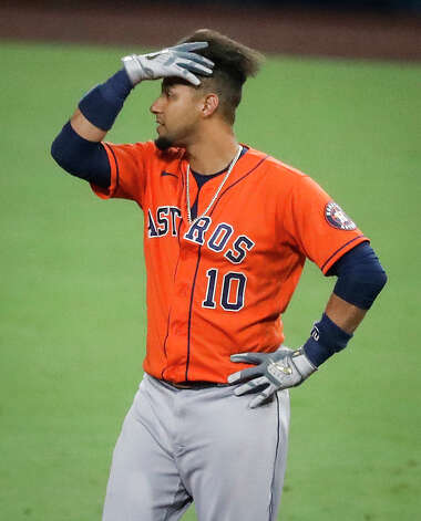 Houston Astros Yuli Gurriel reacts after hitting into an inning-ending double play against the Tampa Bay Rays during the seventh inning of Game 7 of the American League Championship Series at Petco Park Saturday, Oct. 17, 2020, in San Diego. Photo: Karen Warren/Staff Photographer / © 2020 Houston Chronicle
