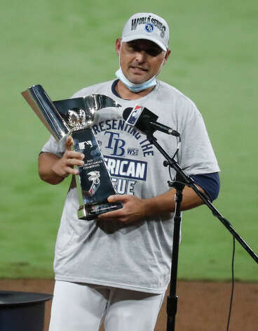 Tampa Bay Rays holds the American League Championship Series trophy after the Rays beat the Houston Astros in Game 7 to win the title at Petco Park Saturday, Oct. 17, 2020, in San Diego. Photo: Karen Warren/Staff Photographer / © 2020 Houston Chronicle