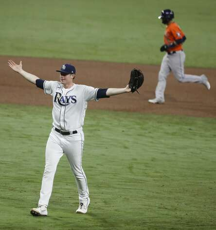 Tampa Bay Rays reliever Pete Fairbanks celebrates after closing to the Houston Astros for a 4-2 in Game 7 of the American League Championship Series at Petco Park Saturday, Oct. 17, 2020, in San Diego. Photo: Karen Warren/Staff Photographer / © 2020 Houston Chronicle