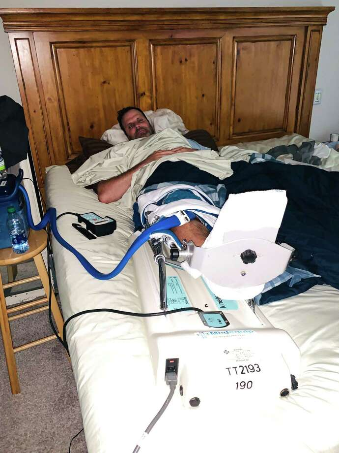 Matt Oates, 41, of Raleigh, N.C., recooperates after a cartilage-restoring operation. Photo: Family Photo. / Family Photo