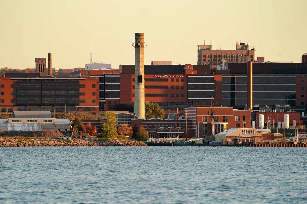 A smokestack serves as a reminder of Erie's industrial heritage in Pennsylvania.
